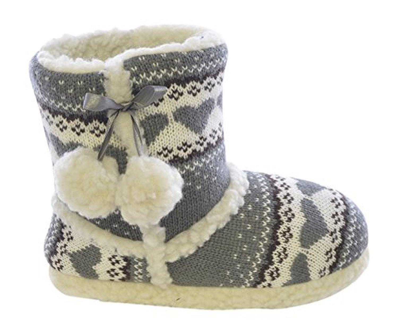 femmes dames chaussures coeur imprimer chausson bottes botties avec pompons diverses couleurs. Black Bedroom Furniture Sets. Home Design Ideas