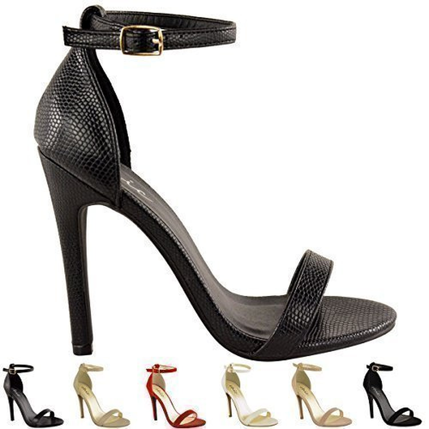 escarpins talons aiguilles bride de cheville bout ouvert pour femmes soldes allure chaussure. Black Bedroom Furniture Sets. Home Design Ideas