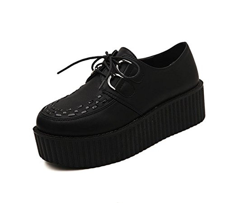 mileeo chaussures de ville lacets baskets mode femmes bout roud talon 5cm sport plateforme. Black Bedroom Furniture Sets. Home Design Ideas