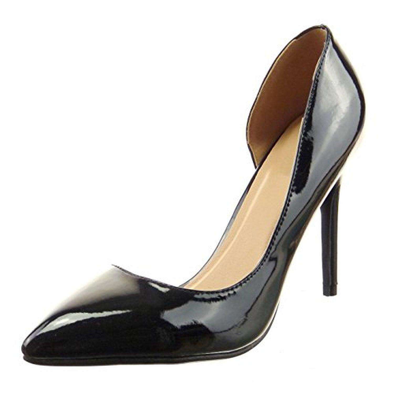 sopily chaussure mode escarpin decollet stiletto cheville femmes brillant verni talon haut. Black Bedroom Furniture Sets. Home Design Ideas
