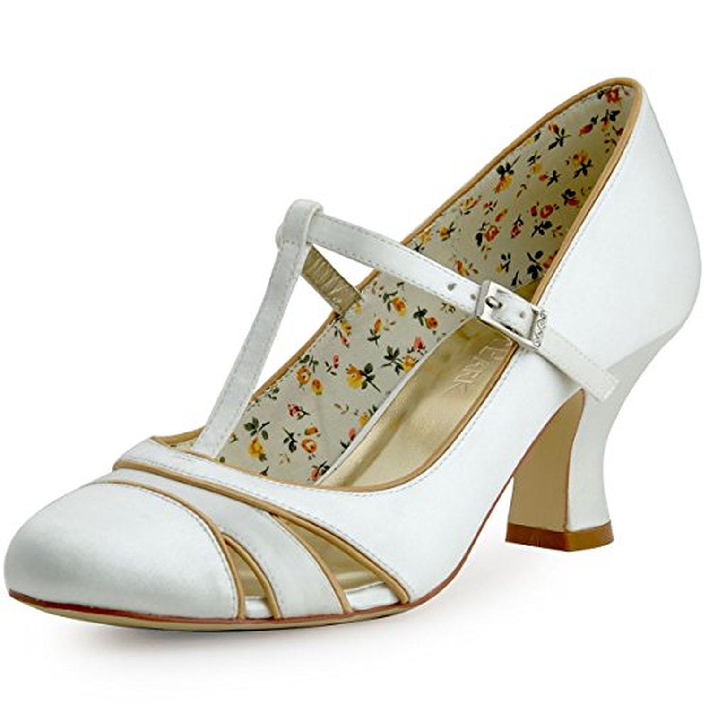 elegantpark hc1512 escarpins femme talon bloc bride cheville boucle salome chaussures de mariee. Black Bedroom Furniture Sets. Home Design Ideas
