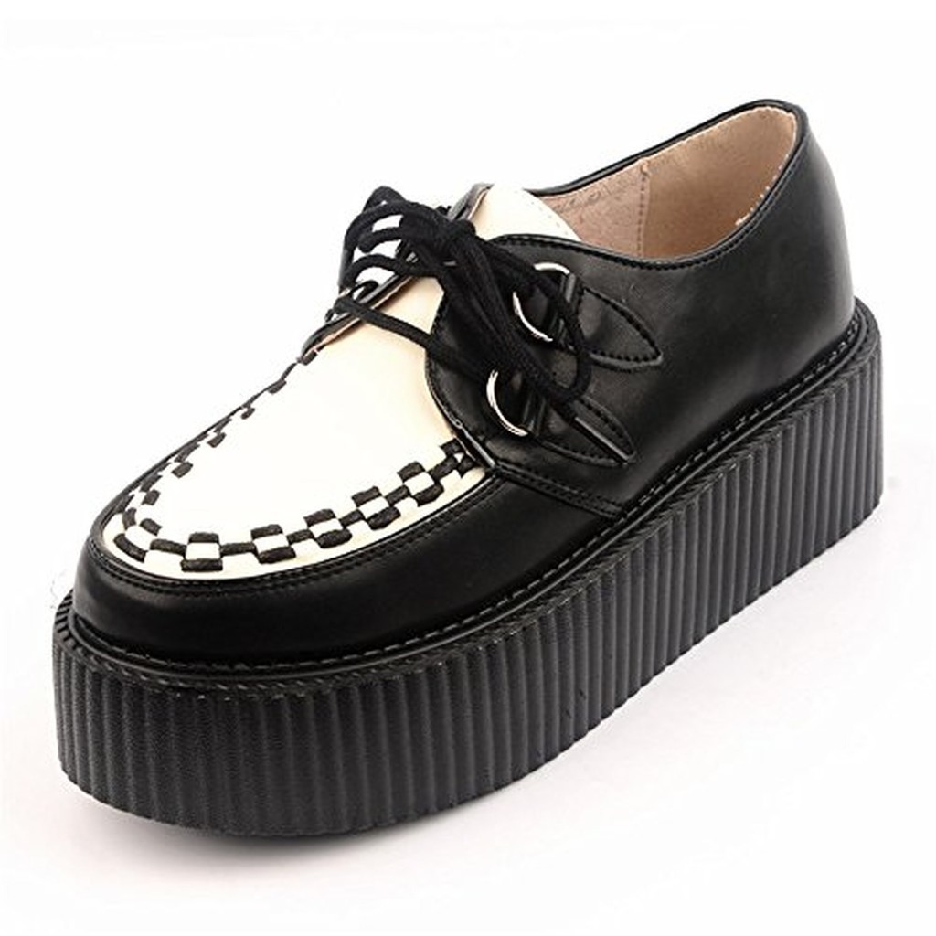 Favori RoseG Femmes Cuir Lacets Plate Forme Gothique Punk Creepers  WA43