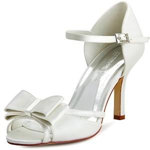ElegantPark HP1507 Escarpins Femme Noeud a deux boucle Satin Bout ouvert Aiguille Bride cheville Chaussures de mariee bal 2016