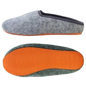 PantOUF Chaussons tendance Skei incroyablement confortables. Les chaussons sont souples, légers, doux, extrêmement silencieux, pour femmes/hommes, gris claire/orange 2016