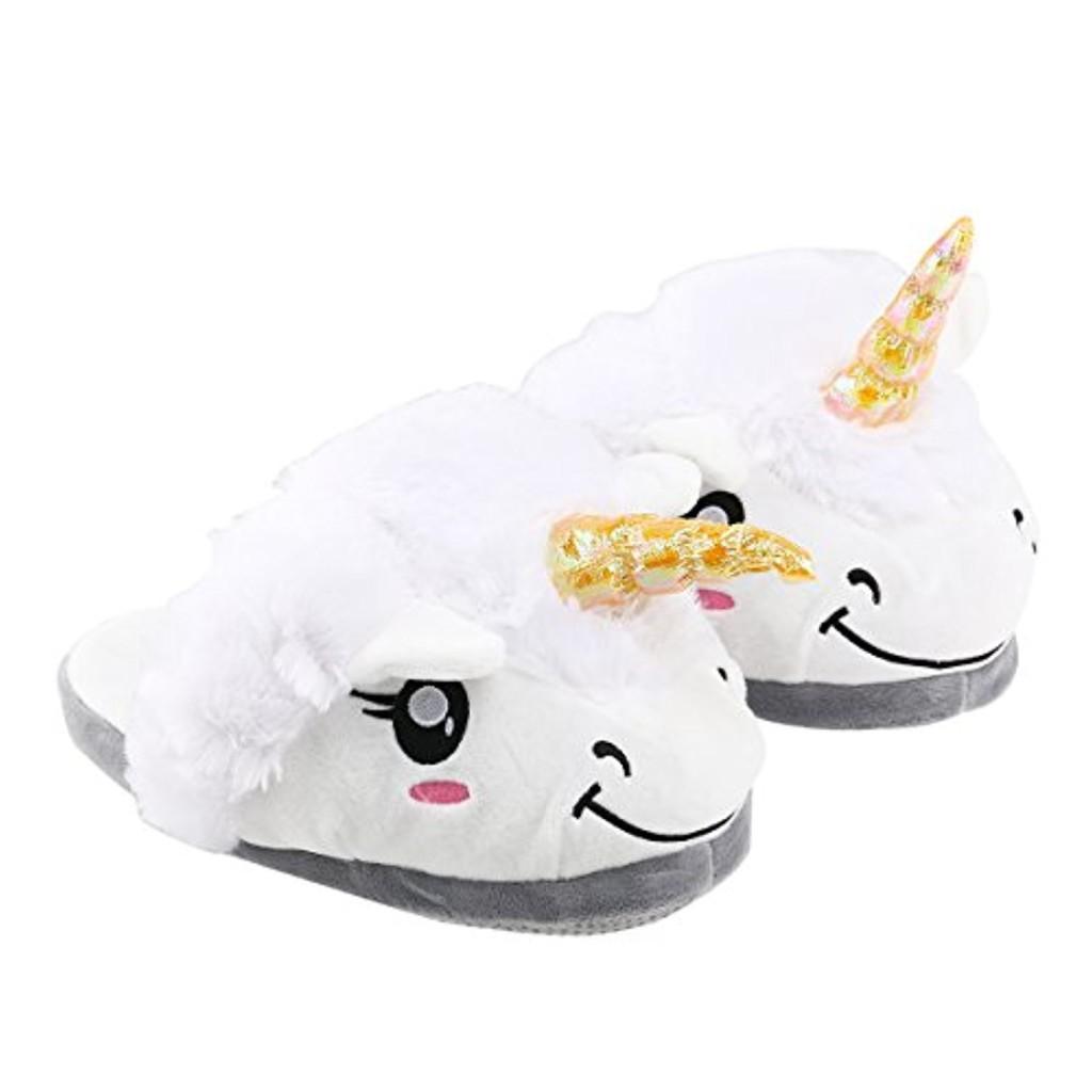 Pantoufles fantaisie licorne blanche en coton, taille: 36 - 41 2016