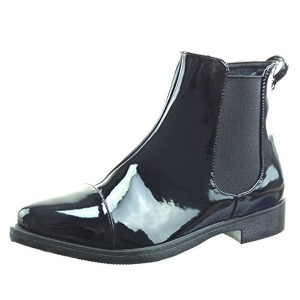 Sopily – Chaussure Mode Bottine chelsea boots montante femmes verni Talon bloc 3 CM – Noir 2016