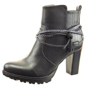 Sopily – Chaussure Mode Bottine Low boots Montante femmes Peau de serpent multi-bride corde Talon haut bloc 8 CM – Noir 2016