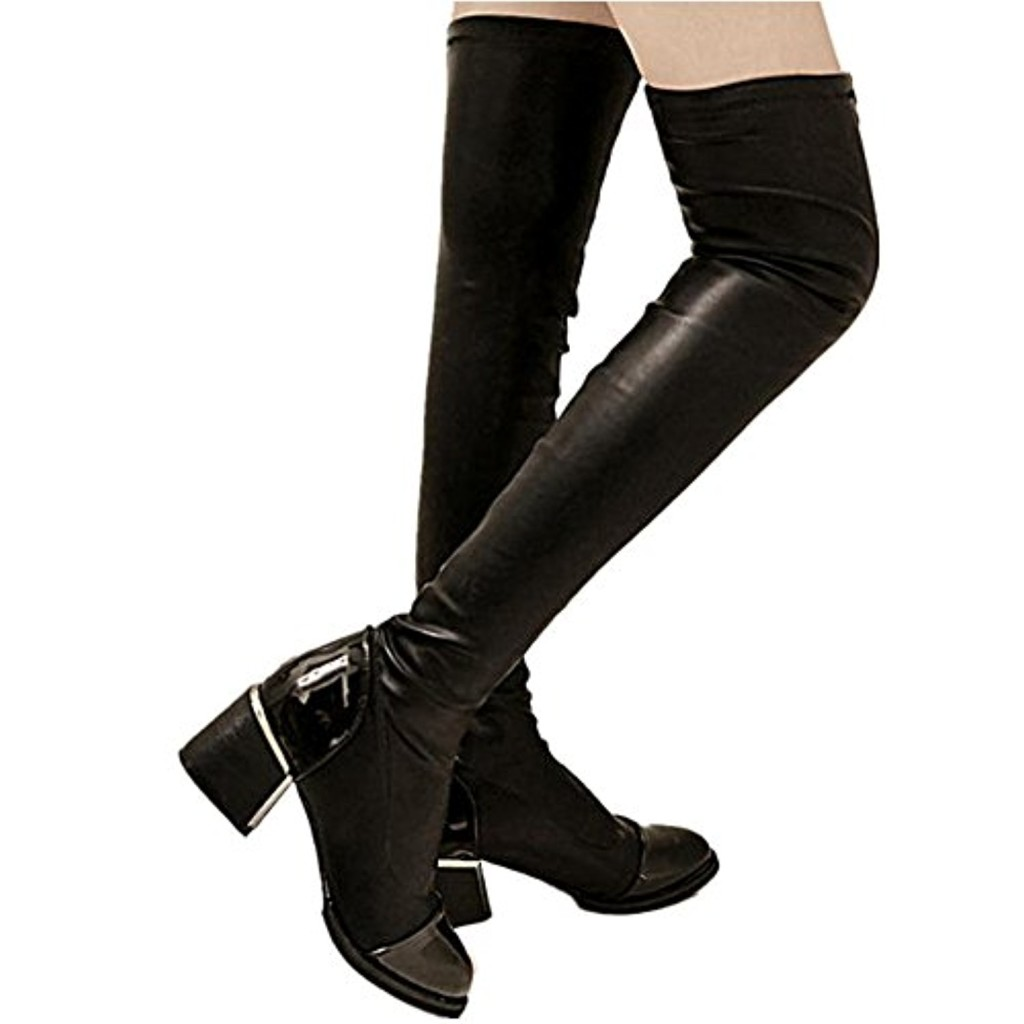 Sexy Bottes Cuissardes Femme Noire,OverDose Fourrure Bottes à Talons  Bottines Talons Plats Hauts Hiver Cuir Chaussures 2018
