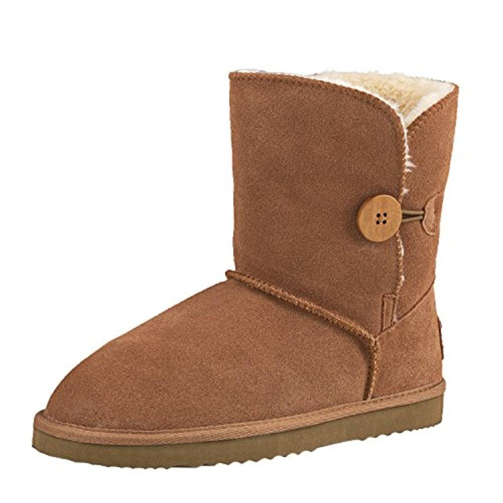 shenduo bottes de neige femme cuir daim boots fourr es classiques mi mollet doublure chaude. Black Bedroom Furniture Sets. Home Design Ideas