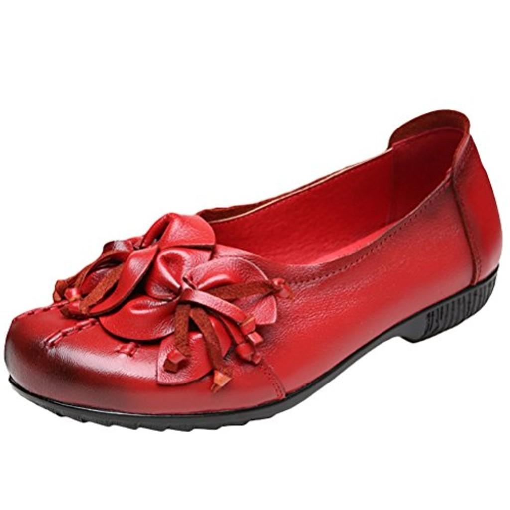 vogstyle femmes chaussures plates en cuir souple mocassins avec fleurs fait a la main mode. Black Bedroom Furniture Sets. Home Design Ideas