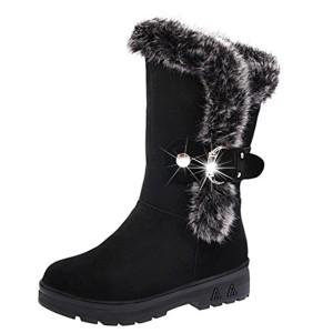 Bottes de neige Femmes Chaussures Bottes Cuissardes d'hiver Bottes fourrées Femmes Bottes Slip-On Soft Bottes de neige bout rond plat fourrure d'hiver Bottines GongzhuMM (CN38(EU37), Noir) 2018