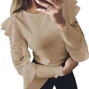 ❤️Blouse Femme, Amlaiworld Manches Longues Solides Chemisier Couture de Lacet Tops Pull T-shirt O-Neck 2018