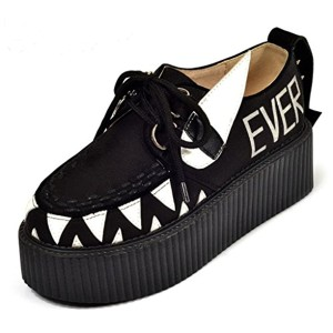 RoseG Femmes Creepers Cuir Lacets Baskets Chaussures 2018