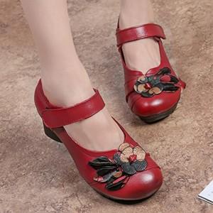 Socofy Chaussures de Ville Femme, Mary Jane en Cuir à Fleurs Escarpins Talon Moyen Sandales 36-42 – Noire Rouge (Grille de poiture à voir) 2018