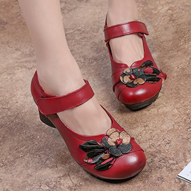 socofy chaussures de ville femme mary jane en cuir fleurs escarpins talon moyen sandales 36. Black Bedroom Furniture Sets. Home Design Ideas