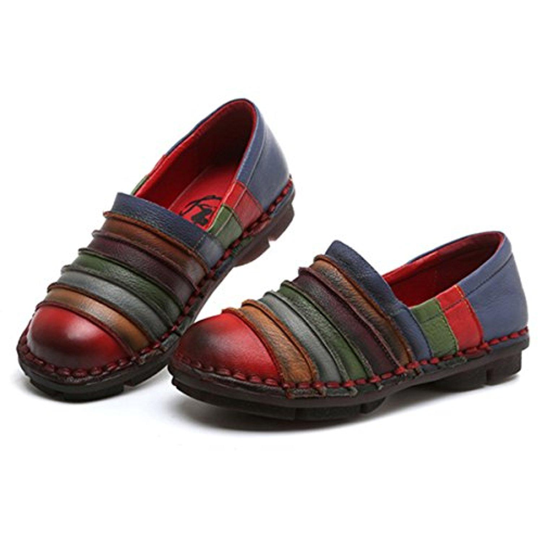 socofy mocassins femme chaussures de ville en cuir talon plate loafters slip on a enfilter. Black Bedroom Furniture Sets. Home Design Ideas