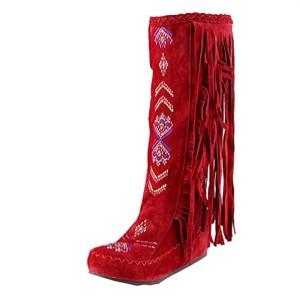 Zhiyuanan Femme Grande Taille Nubuck Hautes Bottes Épaisse Warm Respirant Frange Bottes Plateform Tête Ronde Boots Plates 2018