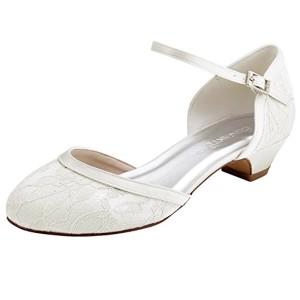 ElegantPark HC1620 Femme Escarpins Dendelle Bride cheville Fermé Toe Talon Bas Chaussures de Mariée Mariage 2018