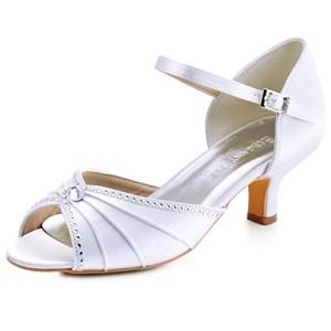 ElegantPark HP1623 Escarpins Satin Bout ouvert Diamant Talon Bas Sandales chaussures de mariee bal 2018