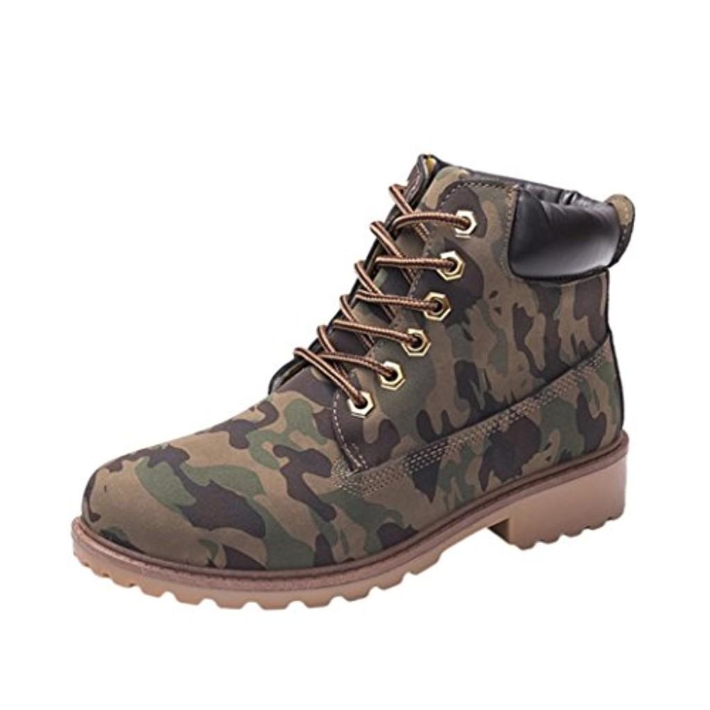 OverDose,Waterproof Bottines de Randonnée Femme Camouflage Bottes à Lacets  Hiver Chaussures Plates Martin Boots 2018