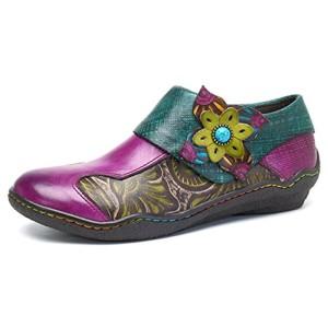 Socofy Mocassins Femme, Chaussures de Ville en Cuir Talon Plate Souliers Loafters à Enfilter Printemps Eté Fait à la mains 36-42 Violet 2018