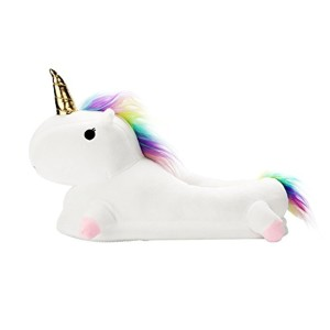 Chaussons Cosplay Costume Chaussons Licorne Unicorn en Peluche Pantoufle Slip on Licorne Adulte Unisex taille 35-40 (00-Bleu) 2018