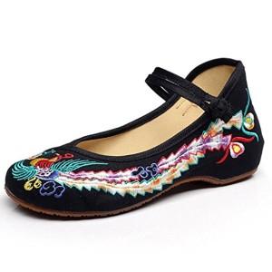 Eagsouni® Femmes confortable Compensées chinois phoenix toile brodé chaussures 2018