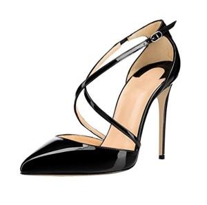 EDEFS – Escarpins Femme – Bride Cheville – Cuir Brillant Synthétique – Sexy Talon Aiguille – Chaussures Club Soiree 2018