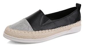 Espadrilles pour Femme Plat Mode Léger Loisir Flâneur Chaussures Noir Blanc (Argenté Or) 35-39 2018