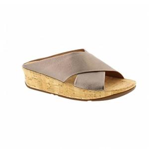 Kys Glisser texturé cuir Slide Fitflop Femmes Sandal – Bronze 2018
