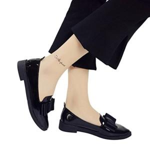 OverDose,Chaussures Plates Mocassins Larges à Bout Pointu Femme Cuir Ballerines Style Avec Nœud 2018