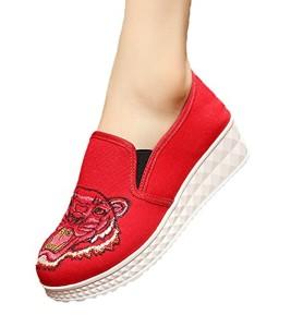 SK Studio Femme Compensées Baskets Fait Main Brodé Espadrilles Bateau Chaussures Sneakers 2018
