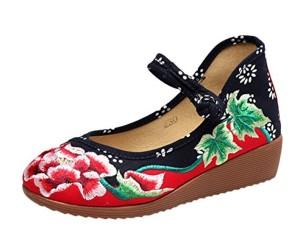 SK Studio Mary Janes Femme Fait Main Broderie Fleur Moulantes Ballerine Compensées Chaussures 2018