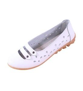 YAANCUN Femme Chaussures Plates Chaussures Creux Cuir Souple Ciselure Confort Pour Le Printemps Et été 2018