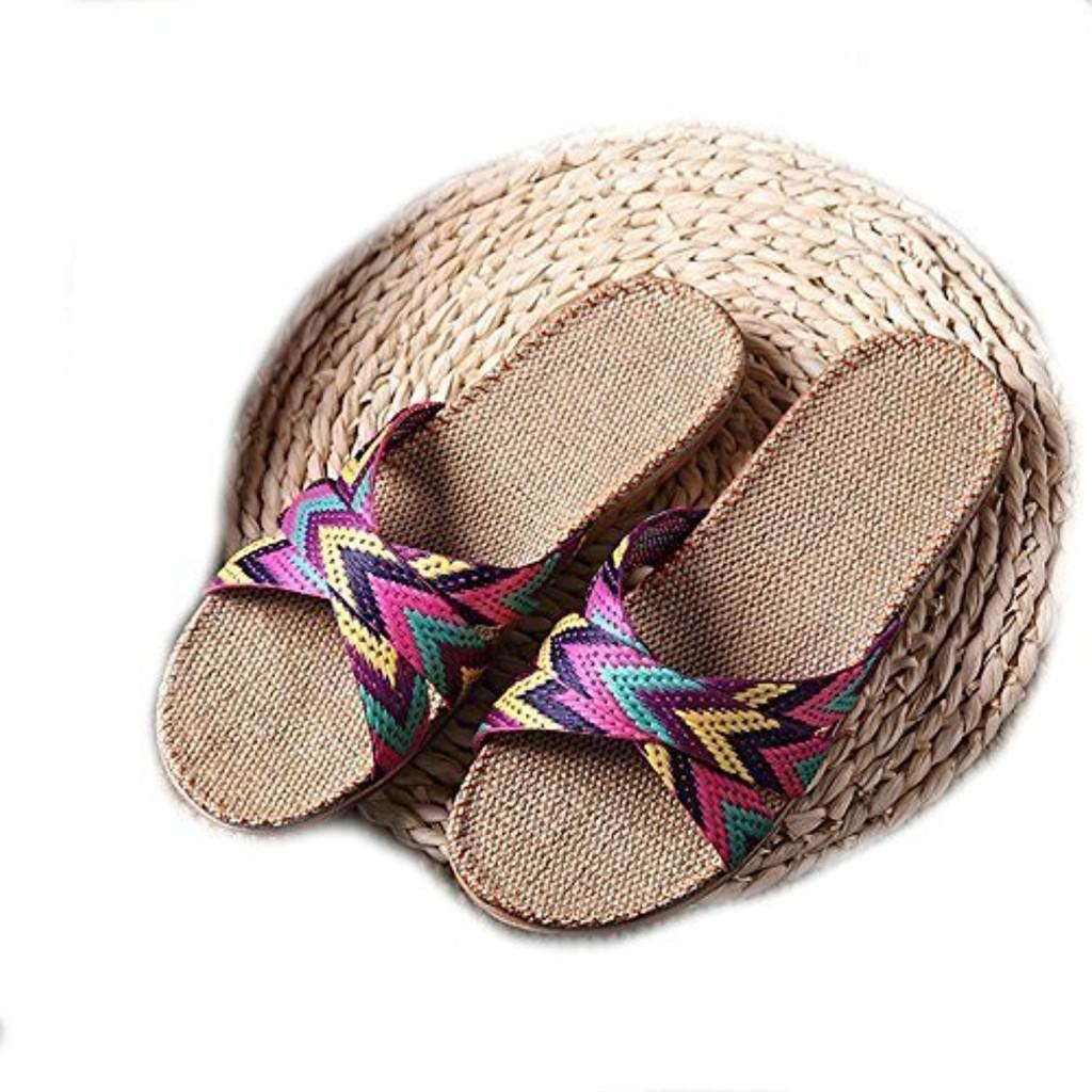 EULAGPRE Chaussons de lin Chaussures de sol Pantoufles à la Sueur Silencieuse Croisée Sandales Femmes d'été 2018