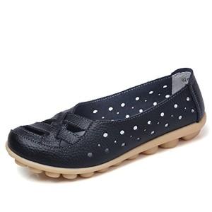 Gaatpot Mocassins Femme Cuir Loafers Casual Bateau Chaussures Respirant Confort Léger Plat de Conduite Chaussures, Printemps et Été Sandales 2018