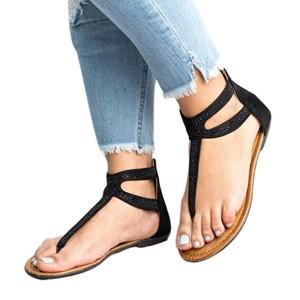 Moonuy Rétro Femmes Diamond Zipper Gladiator Low Flat Tongs Sandales de Plage Bohême Chaussures Toe de Sport Roman Cross Sandales Plates pour Femmes Flip Flops Shoes 2018