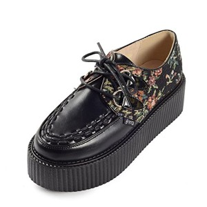 RoseG Femmes Broderie Lacets Plateforme Gothique Creepers Chaussures 2018