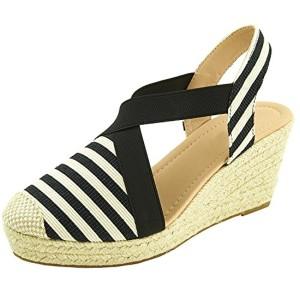 Sopily Chaussure Mode Espadrille Sandale Elastique Plateforme Hauteur Cheville Femmes Corde Talon Compensé Plateforme 7.5 cm – Noir et Blanc 2018