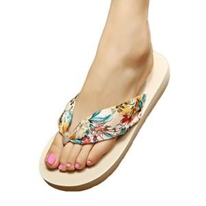 YOUJIA Femmes Tongs été Chaussures de plage Bohême Satiné Plateforme Sandales 2018