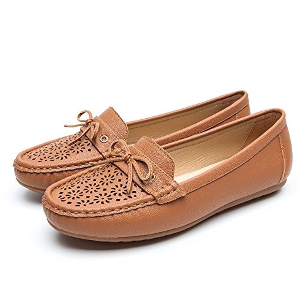 Chaussures Plates Cuir Mocassin pour Femmes - Cendfini Mesdames Mocassins Confortables, Chaussures Creuses Respirantes avec Arc, Le Travail Et I'usure Quotidienne 2018