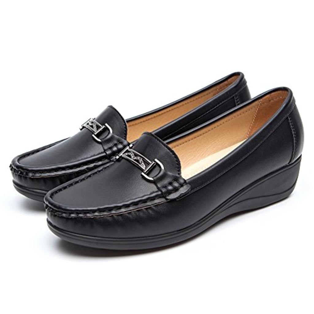Chaussures Plates Noir Cuir pour Femmes - Cendfini Mesdames Compensee Mocassin Confortables, avec des Attaches en Métal à la Mode Chaussures, Convient pour Toutes Les Saisons 2018