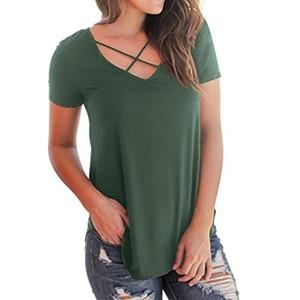 Chemises de Femmes,Honestyi Femmes Tops Décontractés T-Shirt à Manches Courtes T-Shirt à Encolure en V Chemises à la Mode de Couleur Unie Criss Cross Front 2018