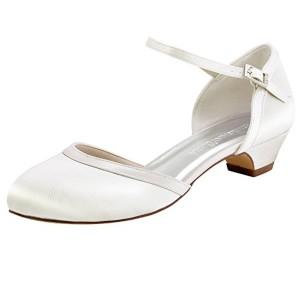ElegantPark Femmes Bout Fermé Bloc Talon Pompes à sangle de cheville Chaussures de Mariage Soirée 2018