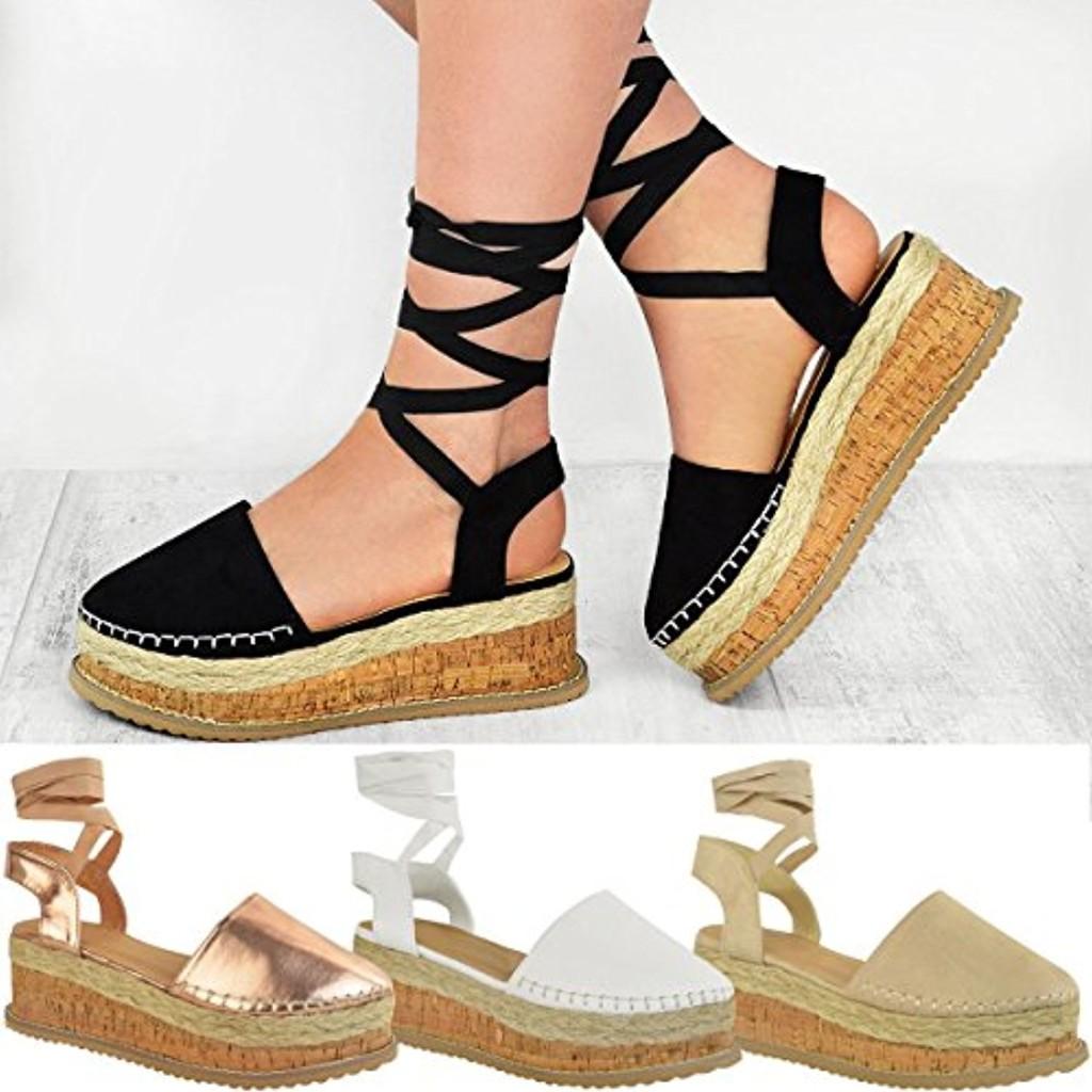Fashion Thirsty Sandales à Plateforme/Semelle Compensée Plate - Bride/Lacets - Été - Femme 2018