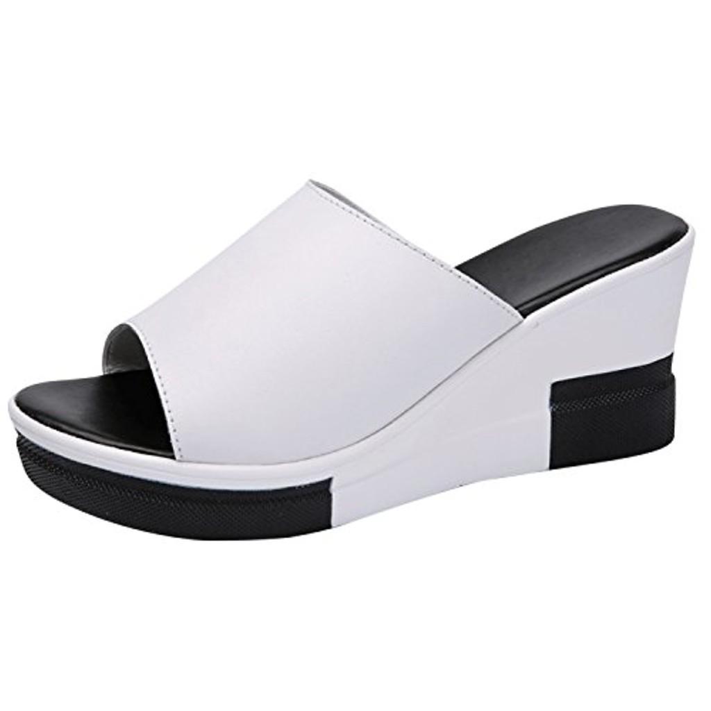 Frestepvie Tongs Compensée Mode Femme Mule Eté Sandales Confortable Chaussure de Plage Vintage Vacances 2018