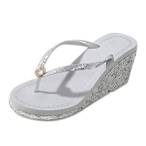 Frestepvie Tongs Compensée Paillettes Mode Femme Fille Mule Eté Sandales Clip Toe Flip Flops Comfortable Chaussure de Plage 2018