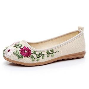 MISSMAO Femme Mary Jane Espadrilles Chaussures d'été Plates Broderie de Fleurs Confortable Et Respirant 2018