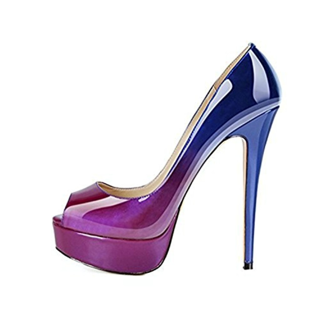 MIUINCY Shoes Women High Heels Fashion Open Toe Platform Shoes Patent Leather Wedding Shoes Pumps Red Nude Black Shoes Heels (3.5, Purple and Blue) 2018