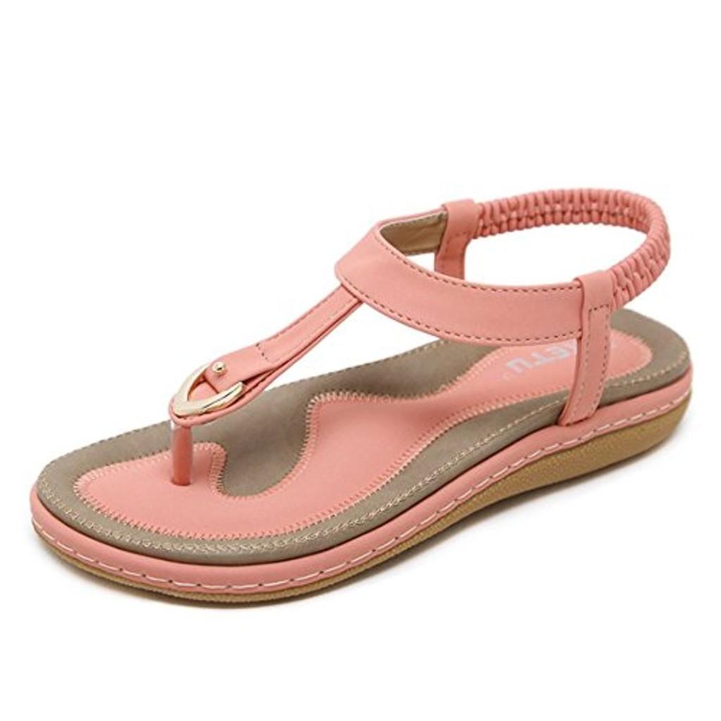 mogeek Femmes Filles Été des Bohême Sandales Ladies Été Chaussures Plates Confortables 2018